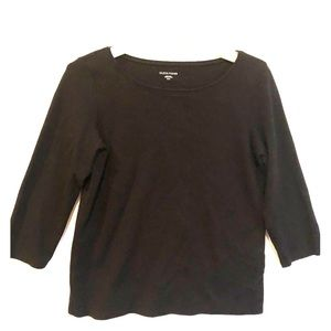 EILEEN FISHER Black 3/4 Sleeve Cotton Knit TOP M